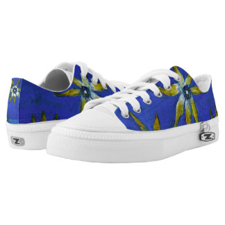Summertime Floral Painting Original Art Low Tops