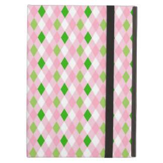 Summertime Fun Pink Lime Green White Argyle Case For iPad Air