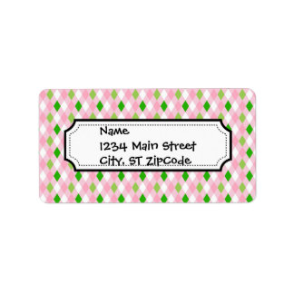 Summertime Fun Pink Lime Green White Argyle Label