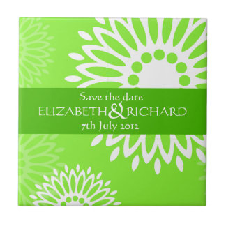 Summertime green flowers Save the date Tile