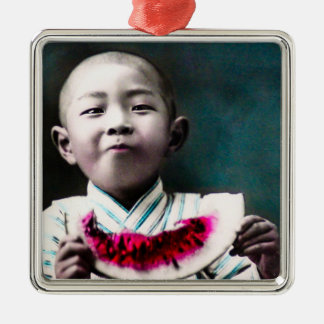 Summertime in Old Japan Vintage Watermelon Silver-Colored Square Decoration