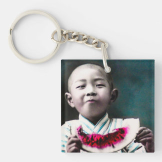 Summertime in Old Japan Vintage Watermelon Single-Sided Square Acrylic Key Ring