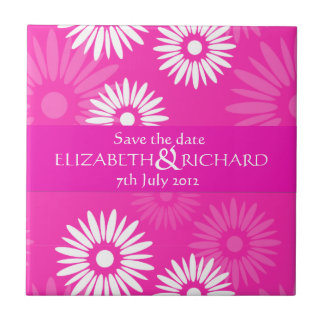 Summertime pink flowers Save the date Tile
