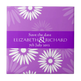 Summertime purple flowers Save the date Tile