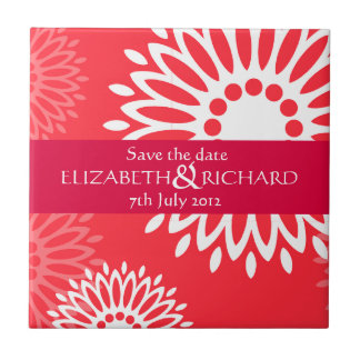 Summertime red flowers Save the date Tile