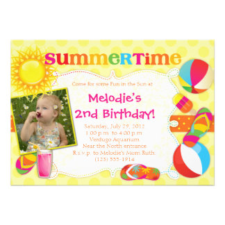 SUMMERTIME - Summer-Themed Party Invitations GIRL
