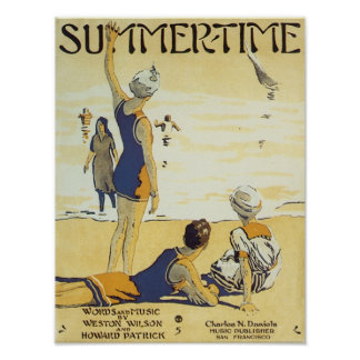 Summertime Vintage Songbook Cover Print
