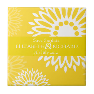 Summertime yellow flowers Save the date Tile
