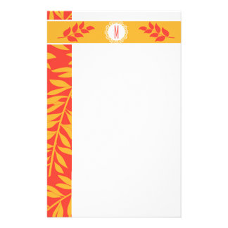 Summery Coral Orange and Golden Yellow Monogram Stationery