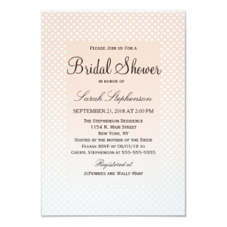 Summery Coral Peach to Grey Gradient Polka Dots 9 Cm X 13 Cm Invitation Card