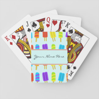 Summery Fun Ice Lolly Pattern with Name Poker Cards