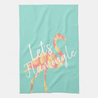 Summery Let's Flamingle Pineapples Flamingo Tea Towel