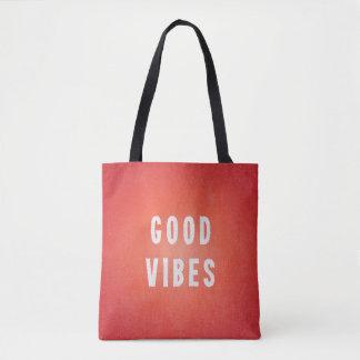 Summery Orange/Red + White Printed Ink Good Vibes Tote Bag