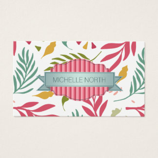 Summery Scattered Leaf Pattern ID387 Business Card