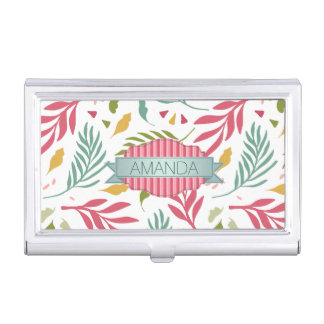 Summery Scattered Leaf Pattern ID387 Business Card Holder