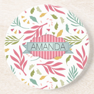 Summery Scattered Leaf Pattern ID387 Coaster