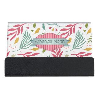 Summery Scattered Leaf Pattern ID387 Desk Business Card Holder