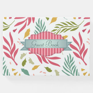Summery Scattered Leaf Pattern ID387 Guest Book