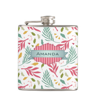 Summery Scattered Leaf Pattern ID387 Hip Flask