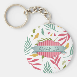 Summery Scattered Leaf Pattern ID387 Key Ring