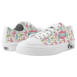 Summery Scattered Leaf Pattern ID387 Low Tops