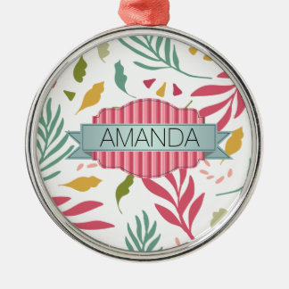 Summery Scattered Leaf Pattern ID387 Metal Ornament