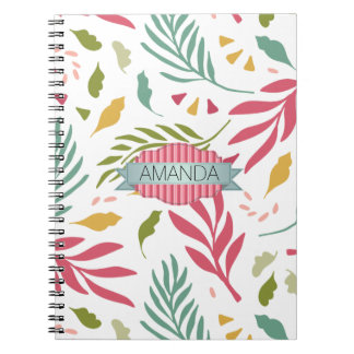 Summery Scattered Leaf Pattern ID387 Notebooks