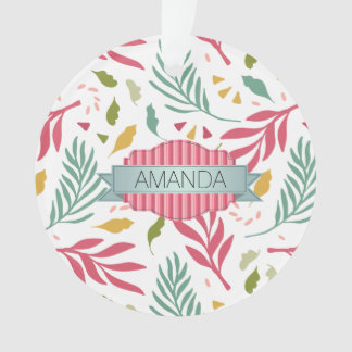 Summery Scattered Leaf Pattern ID387 Ornament