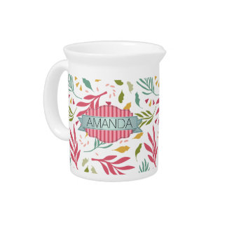 Summery Scattered Leaf Pattern ID387 Pitcher