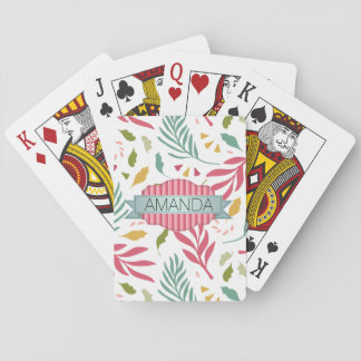 Summery Scattered Leaf Pattern ID387 Playing Cards