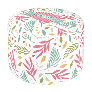 Summery Scattered Leaf Pattern ID387 Pouf