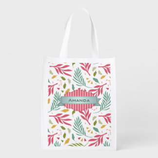 Summery Scattered Leaf Pattern ID387 Reusable Grocery Bag
