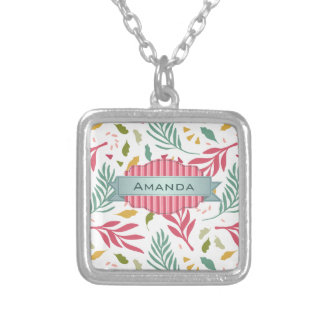Summery Scattered Leaf Pattern ID387 Silver Plated Necklace