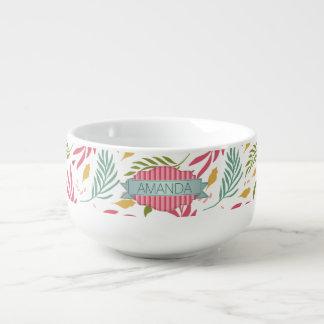 Summery Scattered Leaf Pattern ID387 Soup Mug