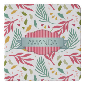 Summery Scattered Leaf Pattern ID387 Trivet