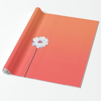 Summery Sunset Orange Gradient and White Daisy Wrapping Paper