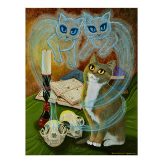 Summoning Old Friends, Ghost Cats Art Poster