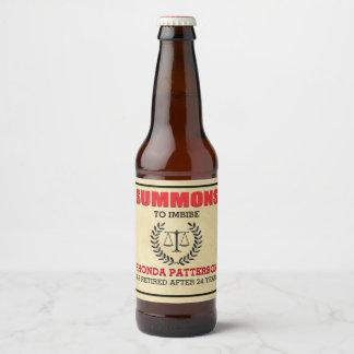 Summons Retirement Party Beer Bottle Label