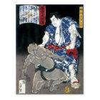 Sumo wrestler choking an enemy c. 1867 postcard