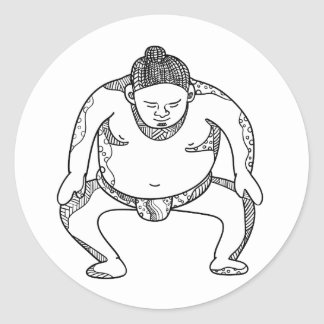 Sumo Wrestler Stomping Doodle Classic Round Sticker