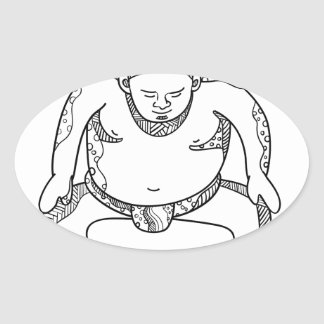 Sumo Wrestler Stomping Doodle Oval Sticker