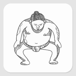 Sumo Wrestler Stomping Doodle Square Sticker