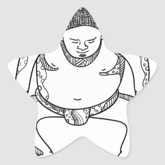 Sumo Wrestler Stomping Doodle Star Sticker