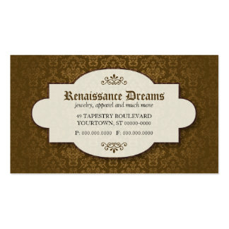 Sumptuous Brown Damask Business Card Template