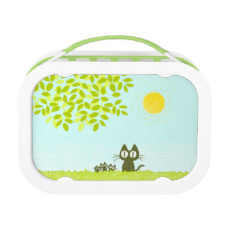 Sun and Leaves and Black Cat Lunch Box
