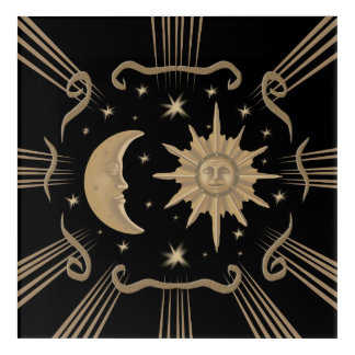 Sun and moon acrylic painting design. acrylic print