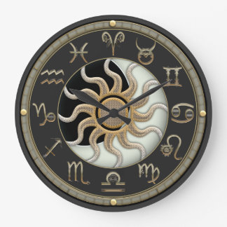 Sun And Moon Astrology Symbols Wall Clock