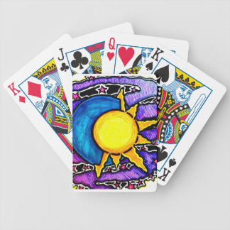 Sun and moon bicycle playing cards