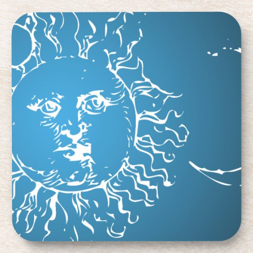 Sun and Moon Blue and White Coasters