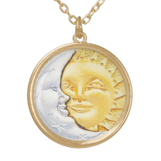 SUN AND MOON CHARM GOLD PLATED NECKLACE